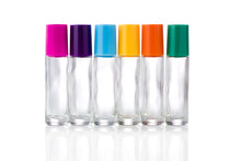 Load image into Gallery viewer, 10ml Clear Glass Roller Bottles with Colour or Black Caps
