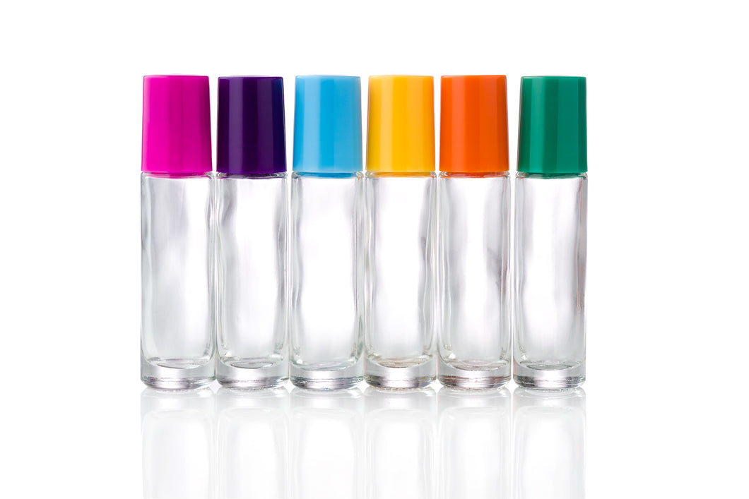 10ml Clear Glass Roller Bottles with Colour or Black Caps