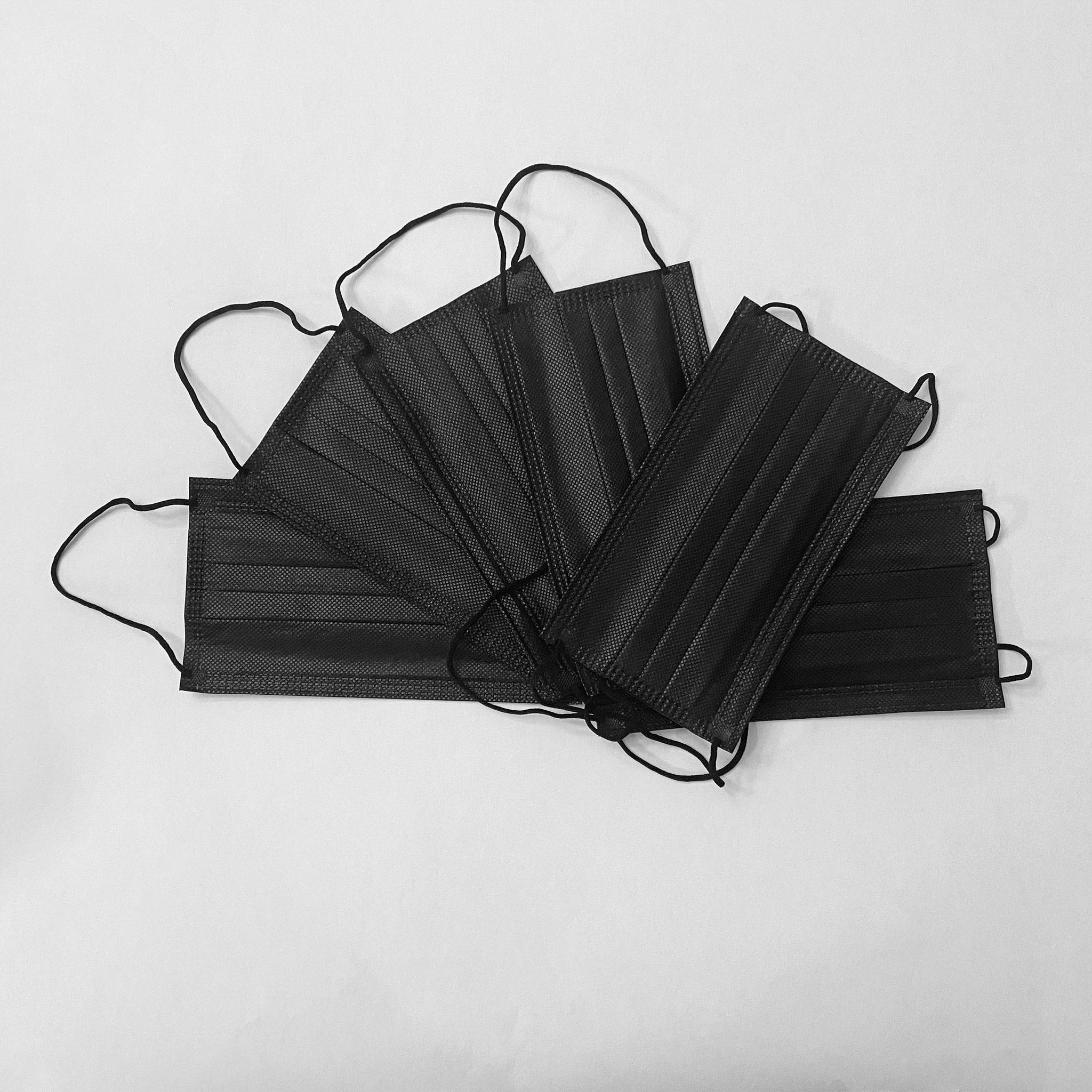 Black 3-Ply Disposable Face Masks (50-pack)
