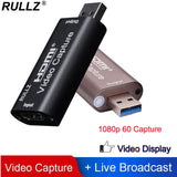 Rullz 4K Video Capture Card USB 3.0 2.0 HDMI Video Grabber