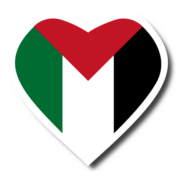 Palestine Flag Heart Sticker - P-stine