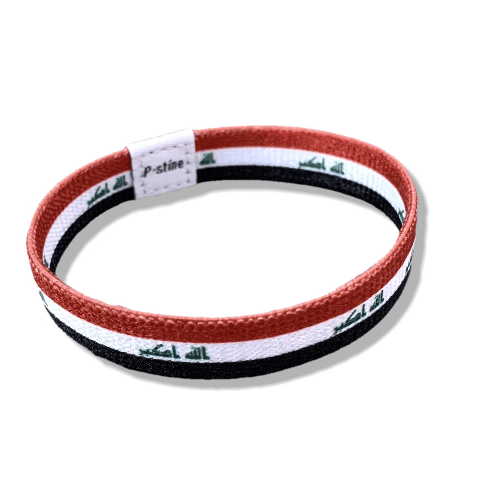 Iraq Flag Adjustable Elastic Farbric Sublimation Wristband Bracelet - P-stine