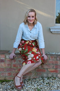 Red floral skirt