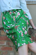Load image into Gallery viewer, Green floral skirt