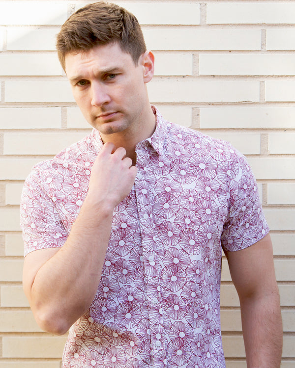 Flower Print Short Sleeve Casual Shirt
