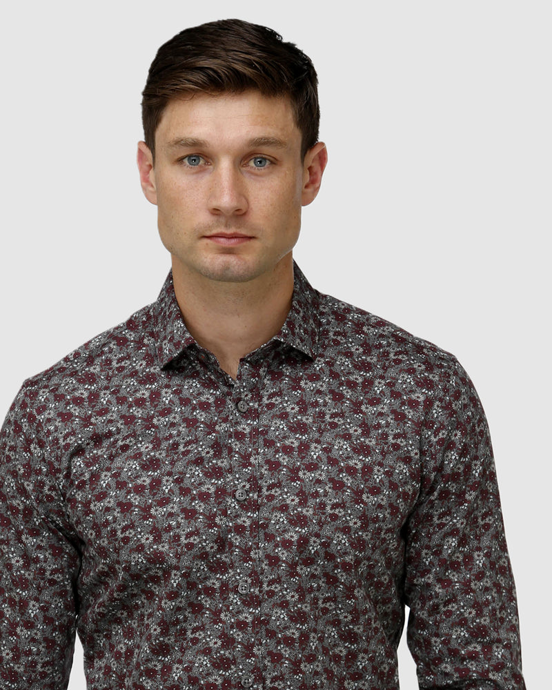 Winter Floral Print Satin Business Shirt