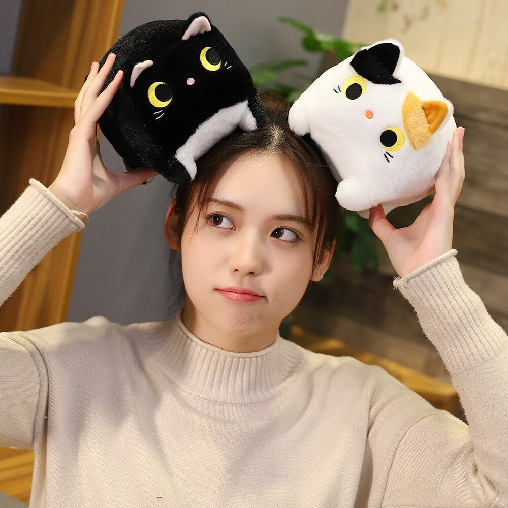 15cm Lovely Anime Cat Plush&Stuffed Doll Toy Stuffed Animals Funny Cat Yellow&White Square Party Toys For Children