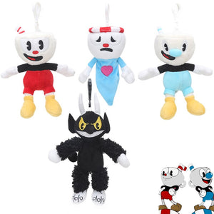 16pcs/lot Cuphead Plush Keychain Toys Cuphead Mugman Cuphead S1-King Dice Boss the Devil Collectible Stuffed Animal Dolls Toy