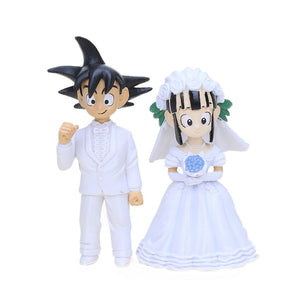 Set of 2 Japan Anime Dragon Ball Z Son Goku ChiChi Wedding PVC Action Figure Toys Dragonball Z Collectible Model Dolls Brinqudoe