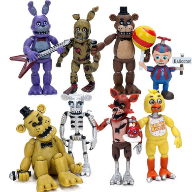 4pcs Five Nights at Freddy's 4 Series PVC Action Figure Set 4.5-6.5cm Freddy Fazbear Bonnie Chica Foxy Sister Location Dolls
