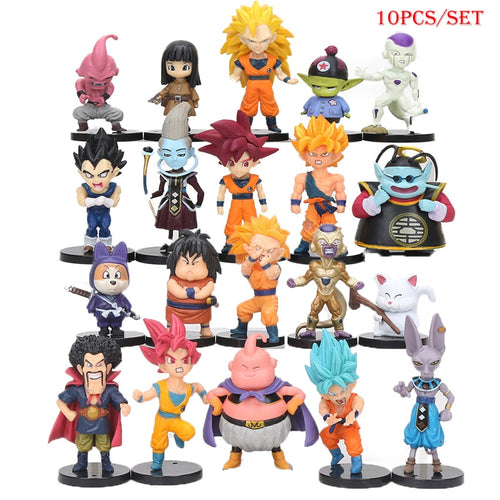 10pcs/set New Dragonball Battle of Gods Super Saiyan  Son Goku Vegeta Picollo Gohan PVC Action Figures Dragon Ball Z Dolls