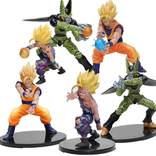 11.5-17cm Super Saiyan Son Goku Son Gohan Cell PVC Action Figure with Crystal Balls Dragon Ball Z Collection Model Doll