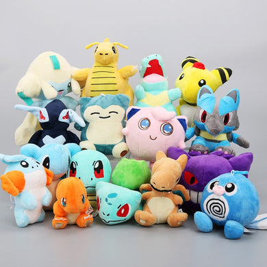 16pcs/set 12-22cm Pocket Center Plush Toys Gengar Snorlax Lucario Charmander Squirtle Bulbasaur Jigglypuff Dragonite Soft Dolls