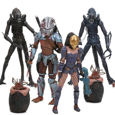 2pcs/set 5-21cm Alien vs Predator Machiko Noguchi Hornhead Predator PVC Action Figure Collectible Model Doll NECA Toys Alien Egg