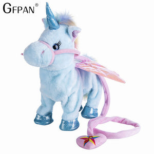 Hot Toy 1pc Electric Walking Unicorn Plush Toy Stuffed Animal Toy Electronic Music Unicorn Toy for Children Christmas Gifts