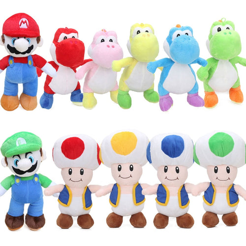 10pcs/lot 25cm Super Mario Bros Luigi Yoshi Soft Plush Toys Anime Cosplay Figure Runing Yoshi Pendant Keyring Animal Dolls Toys