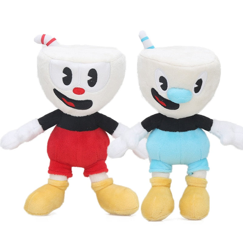 22cm 2pcs/set Cuphead Plush Toys Set Boss the Devil Cuphead-Mugman Cuphead S1-King Dice Collectible DollsSoft Stuffed Animal Toy