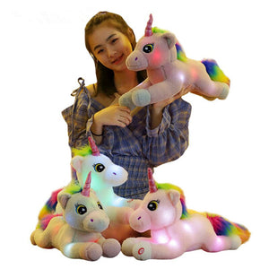 50cm New arrival  Plush luminous unicorn Pillow Stuffed Animal Cushion Warming Hands Birthday Gifts toys For children