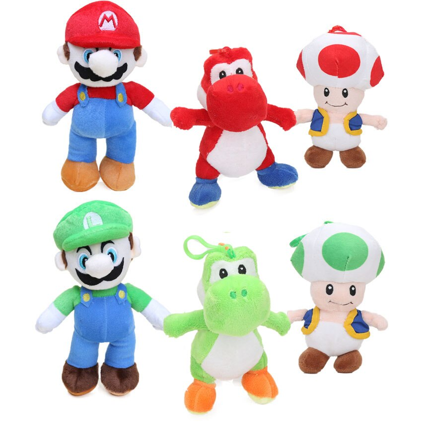 New 6pcs 18cm 25cm Super Mario Bros  Plush Toys MARIO and LUIGI Yoshi Mushroom Toad Soft Stuffed Animal Dolls Peluches bebe