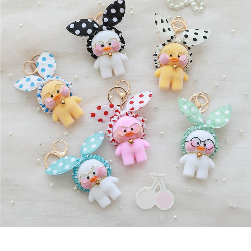 Kawaii LaLafanfan Cafe Duck Pendant Keychain Cartoon Cute Car Decor Animal Dolls Girl Toys Birthday Gift For Children
