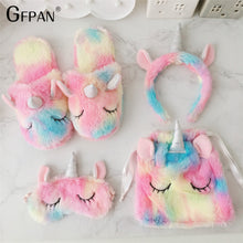 Load image into Gallery viewer, 1pc Super Quality Sweet  unicorn eyes mask headband Kawaii Animal Plush Cartoon Christmas Gift Stuffed Unicorn Toys for Children