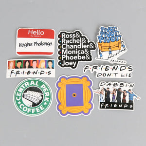 New 34pcs/lot American TV Friends Sticker Set Funny Slogan Decal For Car Laptop Cupcake Bike Fridge Guitar Waterproof Stickers