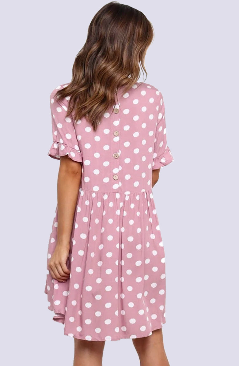 Polka Dot Pink Empire Tea Dress by WMNSWR