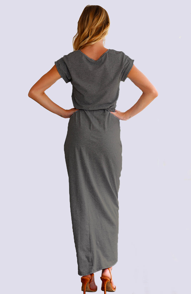 Pewter Maxi Wrap T-Shirt Dress by WMNSWR
