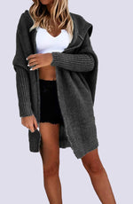 Oversized Gravel Hooded Cardigan by WMNSWR