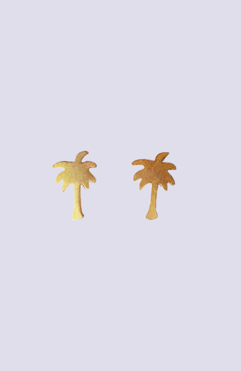 Palm Tree Silver Stud Earrings