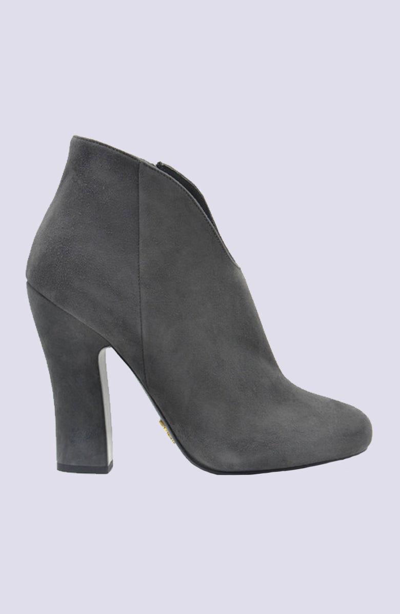 Prada Scoop Front Cloud Grey Suede Bootie