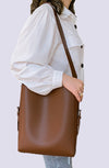 Wood Faux Leather Bucket Bag