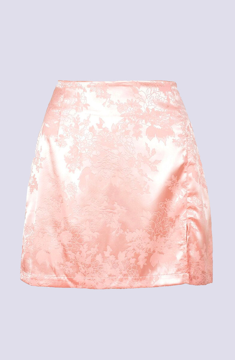 Pretty in Pink A-Line Floral Mini Skirt by WMNSWR