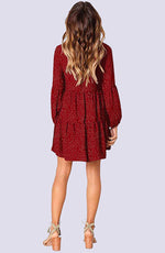 V-Neck Ruffled Geranium Mini Dress