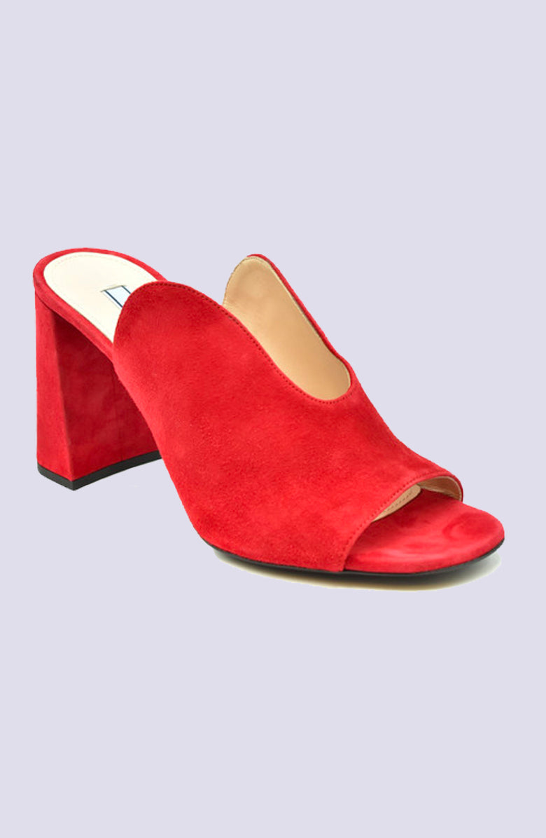 Prada Red Suede Block Sandal