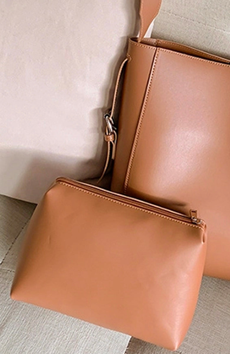 Saddle Faux Leather Bucket Bag