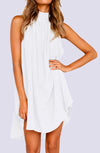 Sal Sleeveless Hi-Low Linen Mini Dress