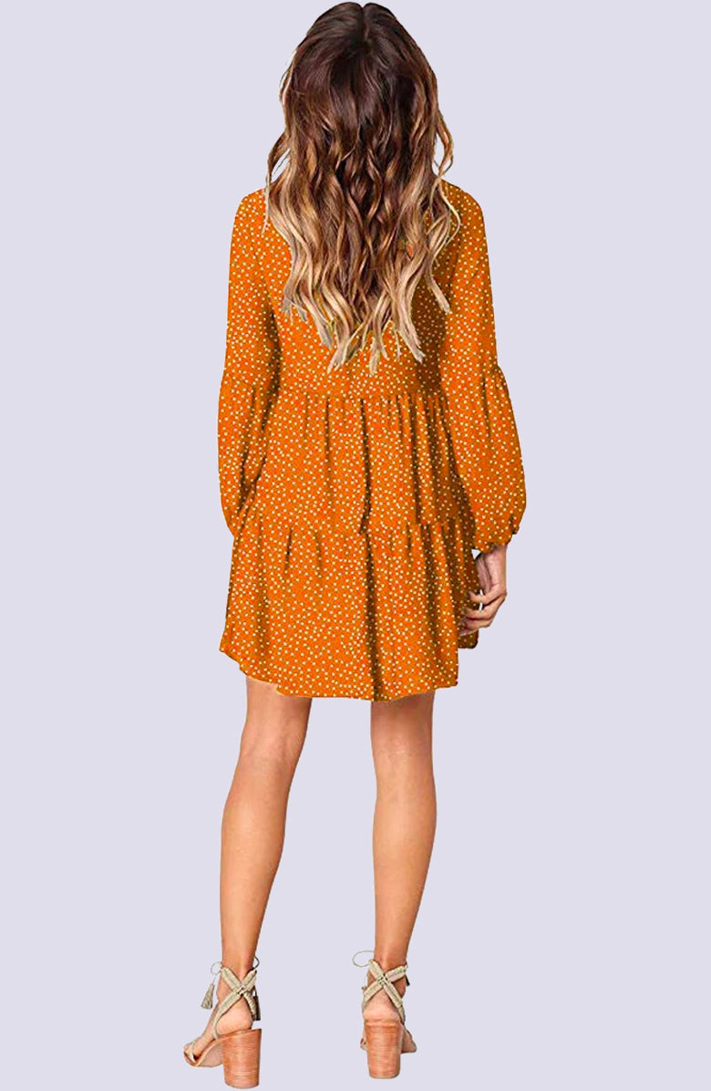 V-Neck Ruffled Buttercup Mini Dress