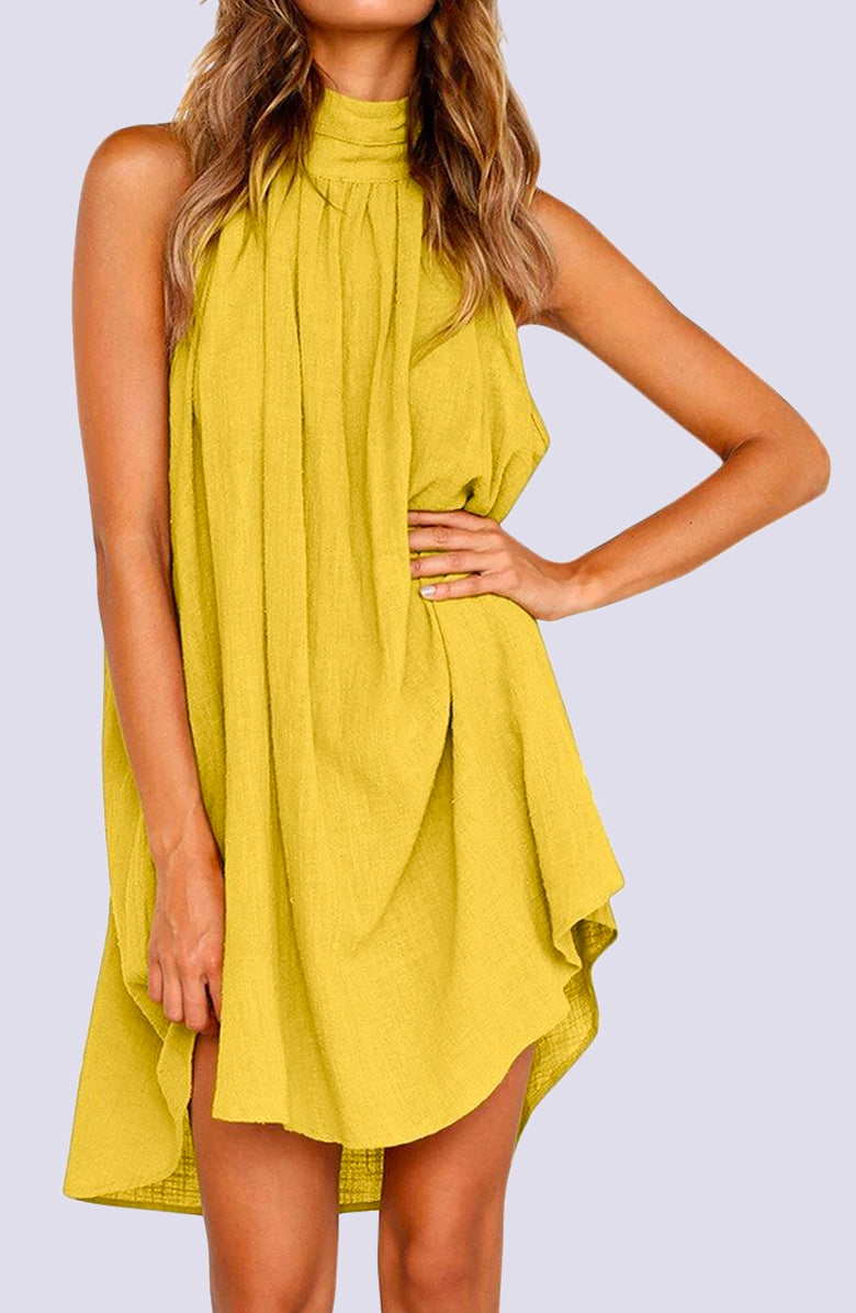 Maiz Sleeveless Hi-Low Linen Mini Dress