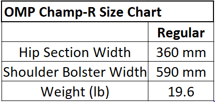 OMP Racing Seat Size Chart. OMP Champ R Racing Seat Size Chart