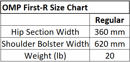 OMP Racing Seat Size Chart. OMP First R Racing Seat Size Chart