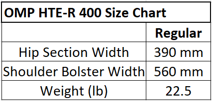 OMP Racing Seat Size Chart. OMP HTE R 400 Racing Seat Size Chart
