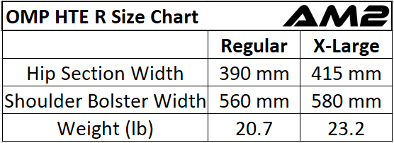 OMP Racing Seat Size Chart. OMP HTE R Racing Seat Size Chart