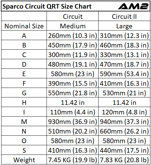 Sparco Seat Size Chart, Sparco Circuit I II Seat Size Chart