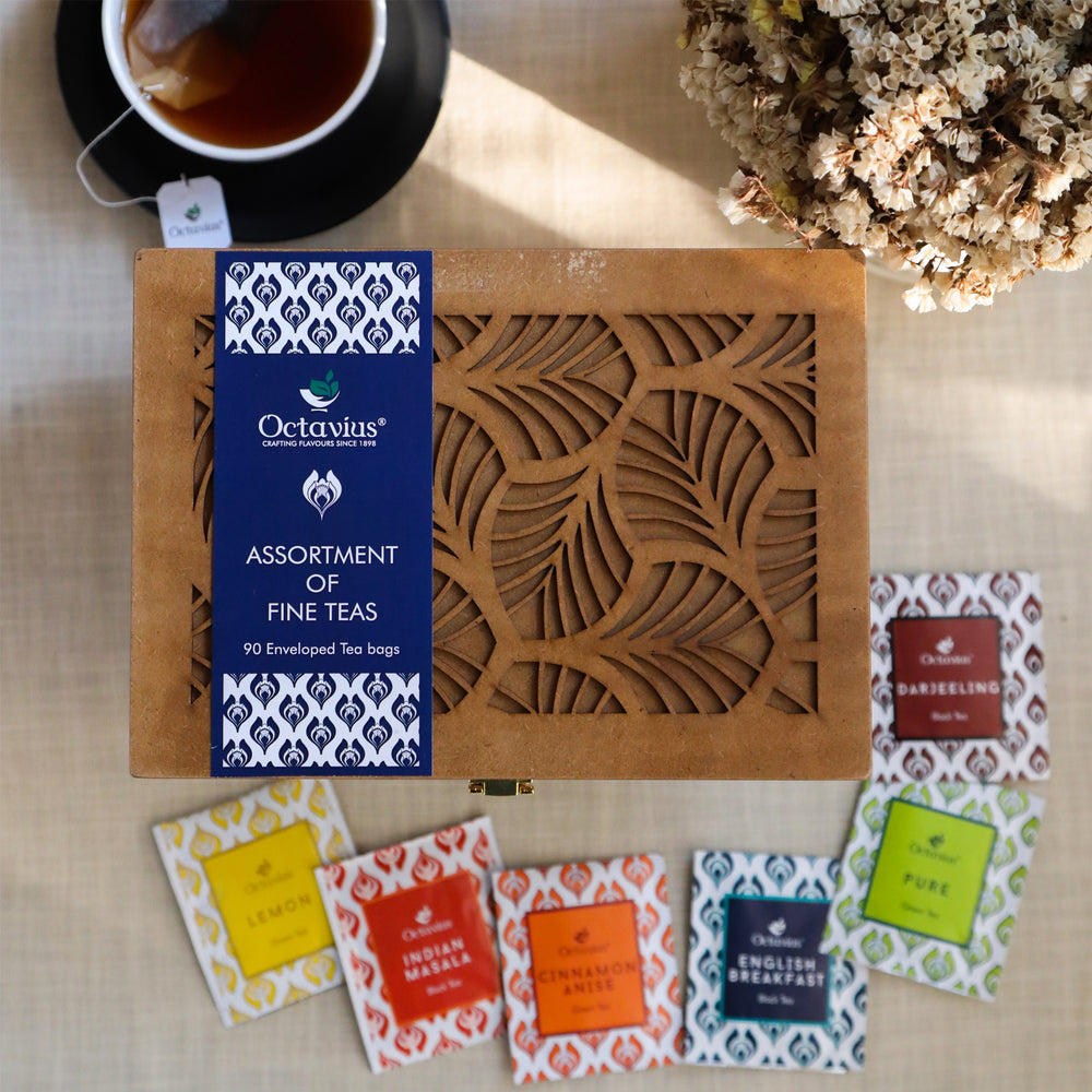 Assortment of Fine Teas - 90 Teabags in Handcrafted Cutwork Wooden Box