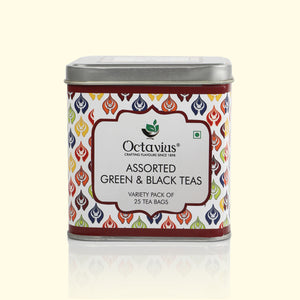 Load image into Gallery viewer, OCTAVIUS ASSORTED BLACK & GREEN TEAS, 6 VARIETIES PACK OF 25 TEA BAGS IN CLASSIC SQUARE TIN