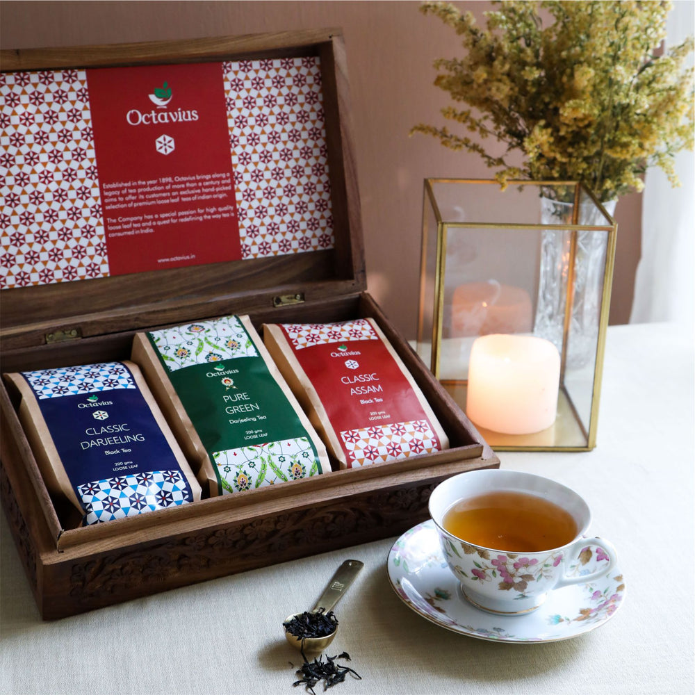 Premium Indian Black & Green Tea Collection (whole Leaf Darjeeling, Pure Green & Assam)