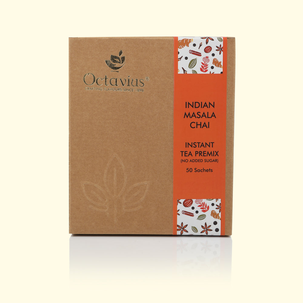 Load image into Gallery viewer, Octavius Rich Indian Masala Ready Tea Mix Economy Pack with Exotic Cardamom, Ginger, Clove, Black Pepper and Cinnamon Flavours and No Added Sugar (50 Single Serve Sachet)