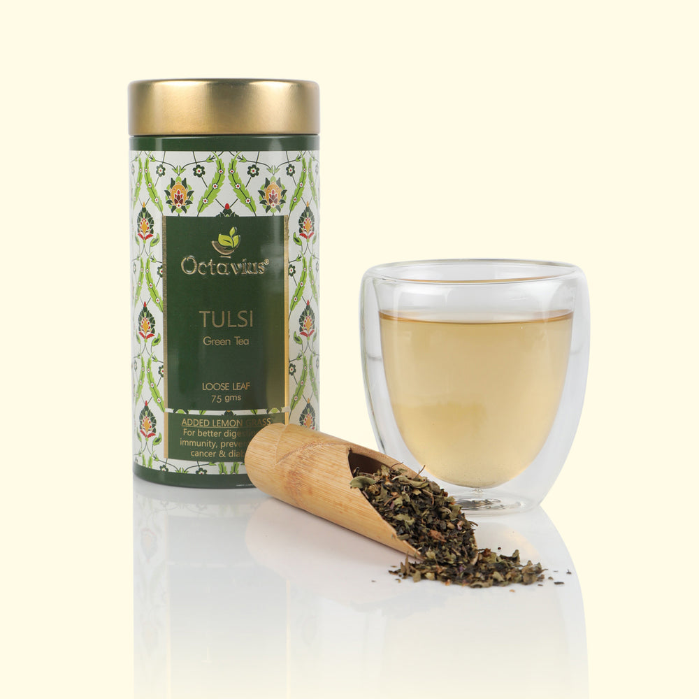 Load image into Gallery viewer, Octavius Tulsi Lemongrass Green Tea Loose Leaf in Tin Can - 75 Gms