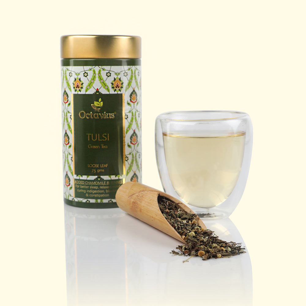 Octavius Tulsi Chamomile Fennel Green Tea Loose Leaf- 75 GMS